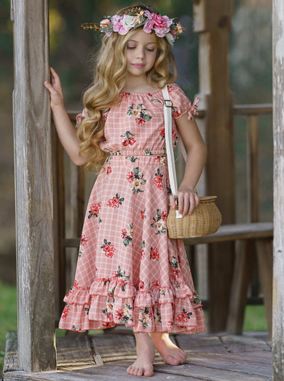 Girls Boho Top and Maxi Skirt Set Pink Spring 2T/3T to 10Y/12Y