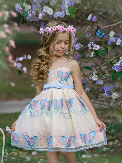 Girls Sleeveless Spring Butterfly Embroidered Special Occasion Dress - Girls Spring Dressy Dress blue 3T-10Y