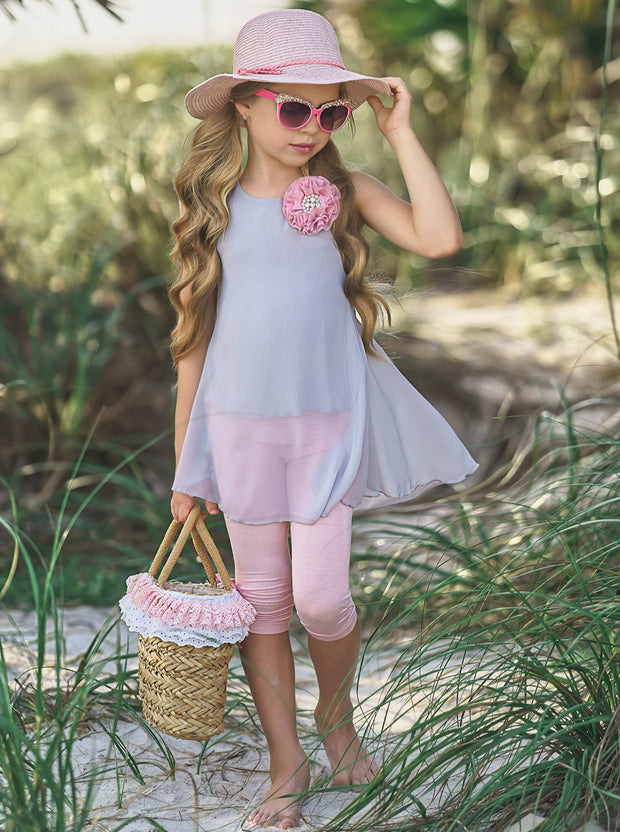Girls Spring Is Beautiful Tunic and Capri Leggings Set