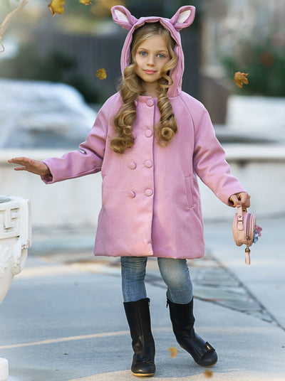 Girls Medium Long Wool Hooded with Kitten Applique Coat3T-8Y Pink
