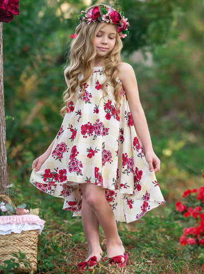 girls beige plaid flower flowy dress 2T-10T