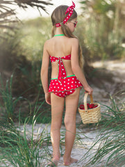 Girls Polka Dot Halter Ruffled Skirted Bottom Two Piece Swimsuit with Bows