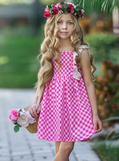 Girls Gingham Lace Ruffled Flutter Sleeve Dress - Girls Spring Casual Dress