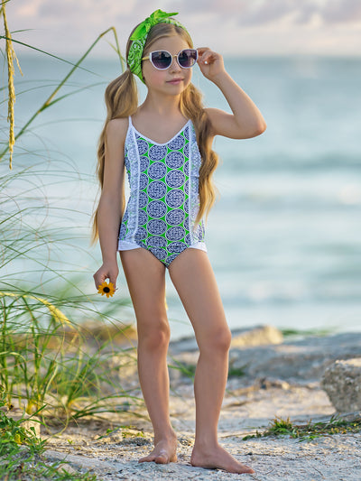 Girls V- Neck Haltered Lace Ruffled One Piece Swimsuit