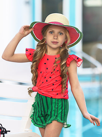 girls red watermelon top with ruffled short sleeves and watermelon shorts Spring 2T-10Y