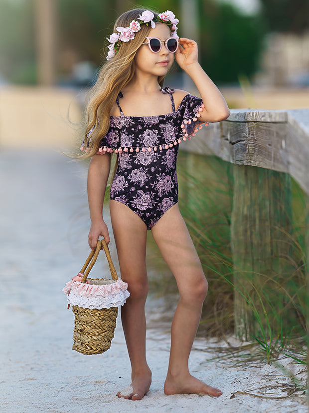 Girls Floral Off the Shoulder Pom Pom Ruffle One Piece Swimsuit