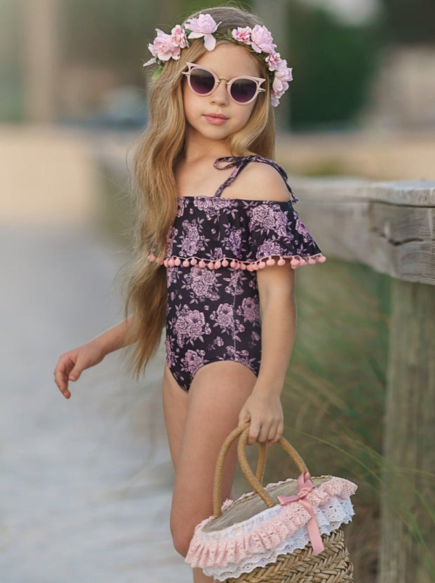 Girls Let's Build Sandcastles One Piece Swimsuit