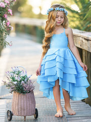Girls Sleeveless Tiered Hi-Lo Back Tie Dress - light blue / 2T/3T - Girls Spring Casual Dress