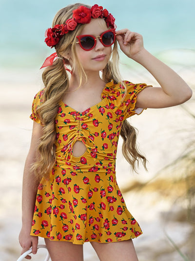 Girls Cap Sleeved Skirted with Floral Print 4T-12Y One Piece Swimsuit