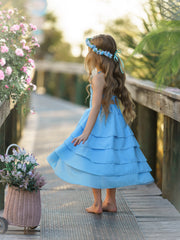 Girls Bloom Where You Are Tiered Hi-Lo Dress