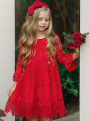 Girls A-Line Lace Long Ruffled Sleeve Dress