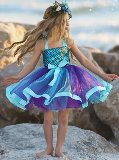 girls spring mermaid dressy tutu dress 2T-8Y