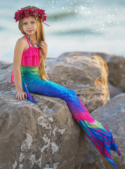 Girls Ruffled Halter Top Mermaid Two Piece Swimsuit With Multicolor Tail Skirt 3T-8Y