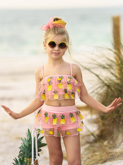 Girls Ruffled Sheer Top and Ruffled Sheer Bottom with Pineapple Two Piece Swimsuit Hot Pink 4T-10Y