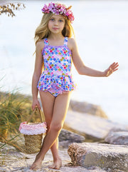 girls Skirted Mermaid One Piece Swimsuit 4T-10Y
