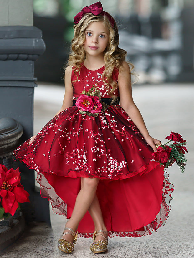 Girls Sleeveless Floral Applique Hi-Low Holiday Dress