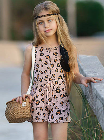 Girls Leopard Buttoned Drawstring Romper 2T-10Y with 2 front pockets and 3 front buttons