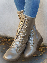 Girls Metallic Lace Up Combat Boots By Liv and Mia