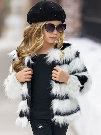 Girls Black and White Faux Fur Coat 12Mon-12Y