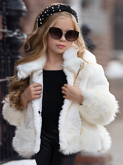 Girls Medium Long Faux Fur Coat 9Mon-7Y White