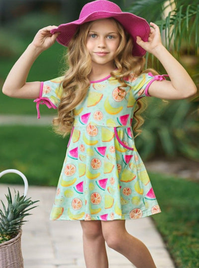 Girls Mint Spring Dress with capped sleeves and 2 front pockets and fruit print