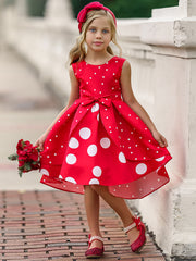 Girls Sleeveless Polka Dot Hi-Low Princess Holiday Dress