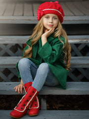 Girls Military Style Lace Ruffle Trimmed Boots by Liv & Mia-red