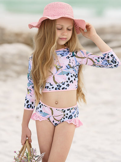 Girls pink-blue Leopard Rash Guard Two Piece Swimsuit 2T-10T