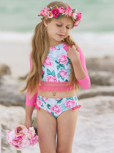 girls rash guard 2 piece swimsuit top pink sleeves and floral print crochet hem and floral bottom pink fringes 2T-10Y