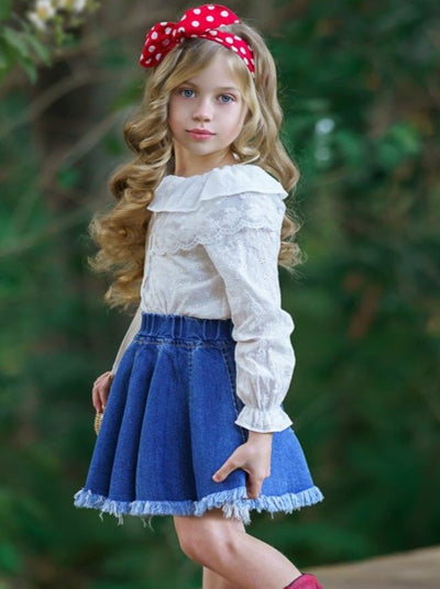 Girls Long Sleeved Collared Top and Denim Skirt Set White 2T-10Y
