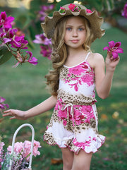 Girls Floral Halter Drawstring Waist Ruffled Hem Romper 2T/3T to 14Y white with hot pink floral print