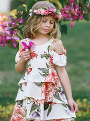 girls spring floral multi layer dress with off shoulder sleeves 2T/3T-10Y/12Y