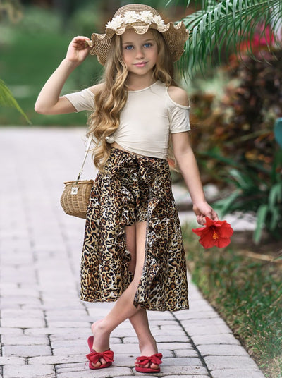 Girls Cold Shoulder Top and Ruffled Skirted Shorts Set - Brown / 2T/3T - Girls Spring Casual Set