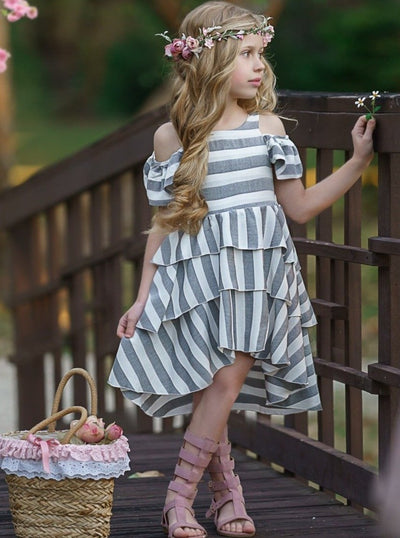 Girls Spring Hi-Low Triples grey white Layered Striped Off shoulder dress 2T/3T - 10Y/12Y