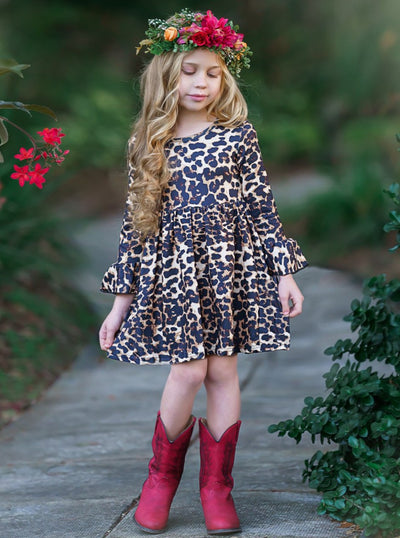 girls spring / fall leopard long sleeved dress 2t/3t to 10y/12y