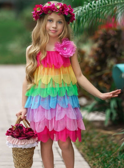 girls spring multilayer tulle rainbow dress 2T-10Y