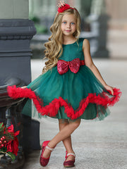 Girls Green Satin and Tulle Holiday Princess Dress with Sequined Bow