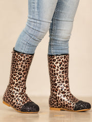 Girls Leopard Print Black Glitter Cap Toe Boots By Liv and Mia