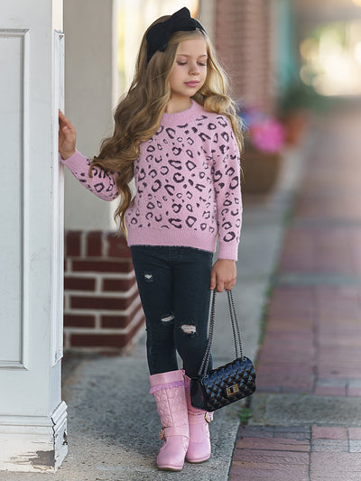 Girls Leopard Print Plush Fuzzy Sweater