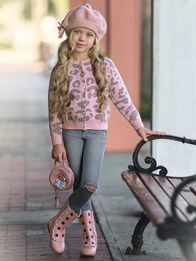 Girls Leopard Print Button Down Sweater Cardigan