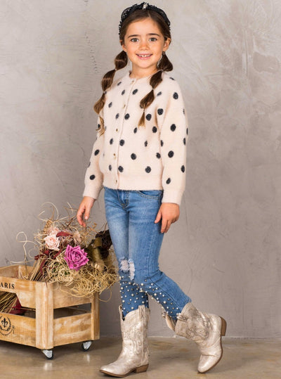 Girls Polka Dot Plush Fuzzy Buttoned Cardigan