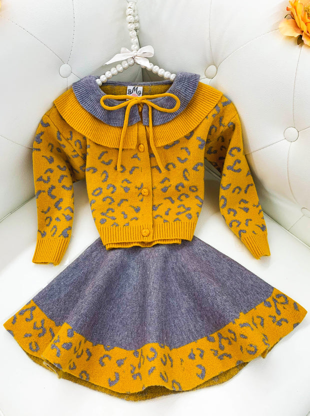 Girls Leopard yellow and grey Collared Buttoned Cardigan and Skirt Set