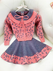 Girls Leopard pink and grey Collared Buttoned Cardigan and Skirt Set