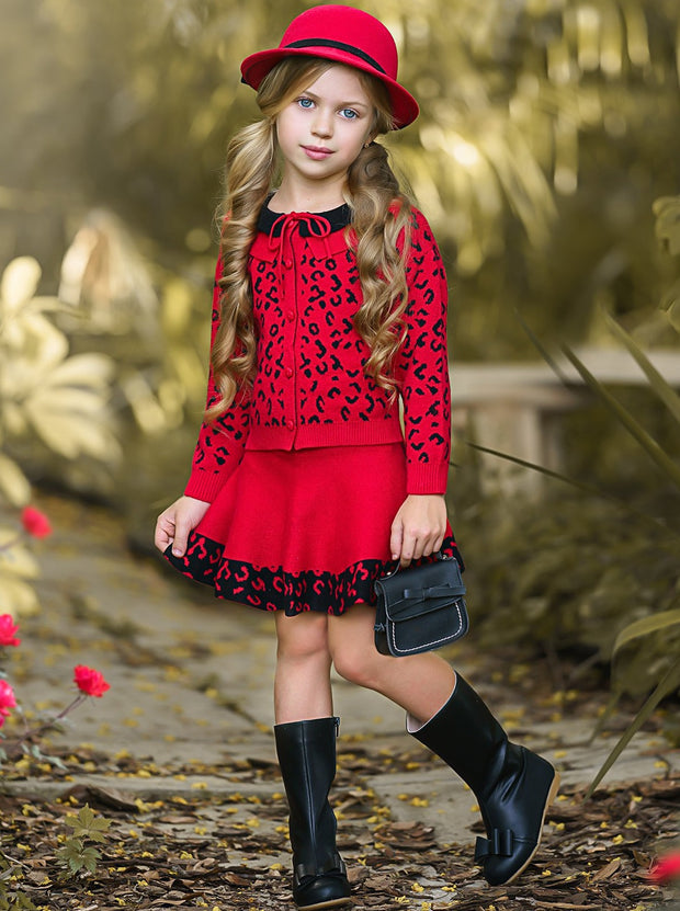 Girls Leopard Collared Buttoned Cardigan and Skirt Set