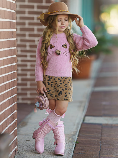 Girls Kitty Face Sweater and Leopard Skirt Set