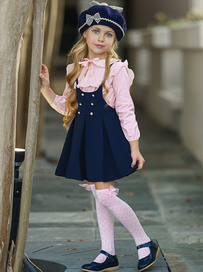 Girls Ruffled Blouse and Pleated Button Skirt Set