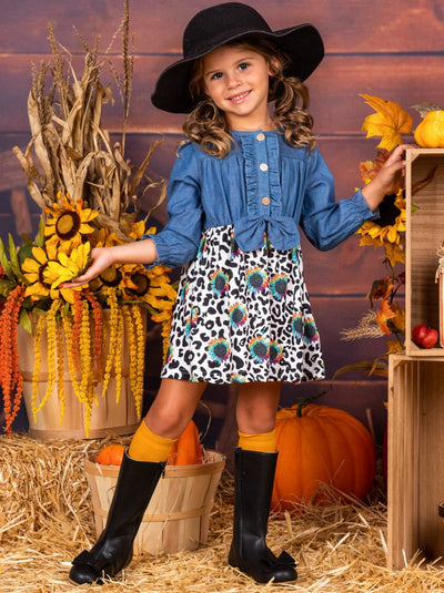 Girls Long Sleeve Denim Bodice, Leopard Sunflower Print Skirt Dress
