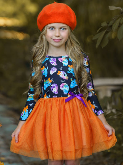 Girls Tie Dye Ghost Print Tutu Dress