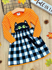 Girls Polka Dot Plaid Black Kitty Dress