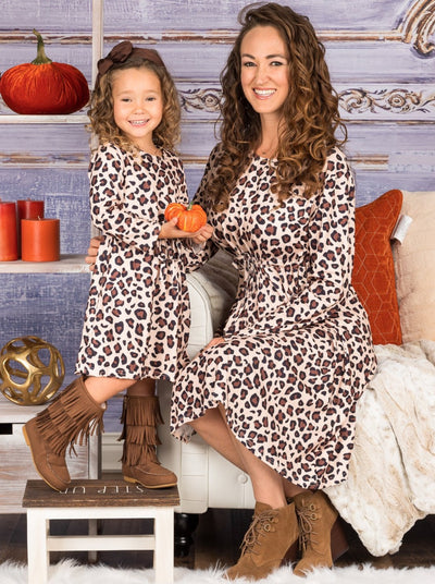 Mommy and Me Leopard Knot-Waist Maxi Dress